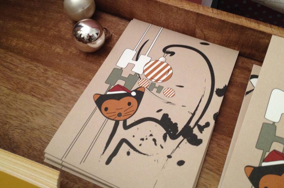 Postkarte mit Katze